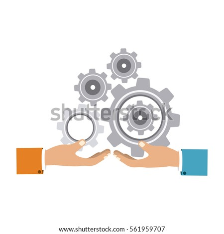 colorful silhouette with hands hold gear wheels