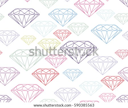 Colorful Silhouettes Faceted Vector Gems On White Background Seamless Jewelry Pattern Wallpaper Gem Jewel