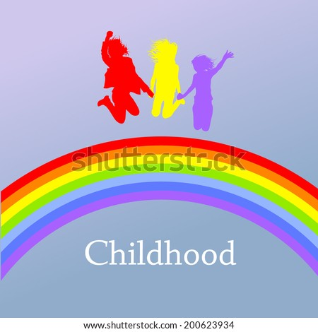 colorful silhouettes of people jumping over the rainbow. Vector - stock vector