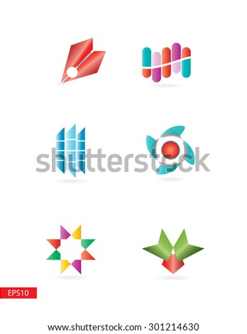 Colorful simple but elegant modern 3d logo elements set for various use . - stock vector