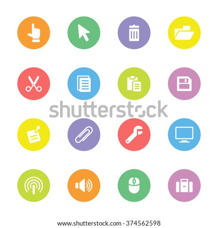 Colorful simple flat computer and technology icon set 3 on circle - for web design, user interface (UI), infographic and mobile application (apps) - stock vector
