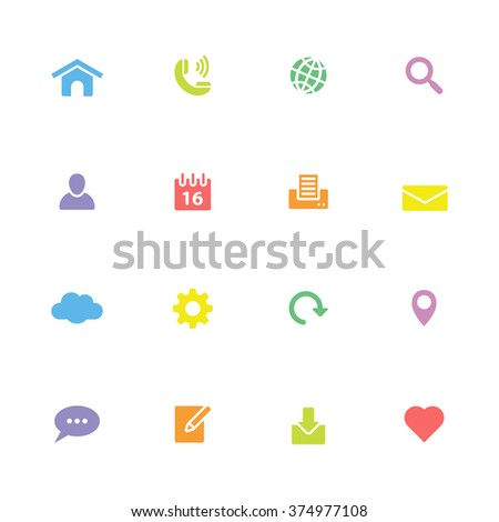 colorful simple flat web and technology icon set 1 for web design, user interface (UI), infographic and mobile application (apps)