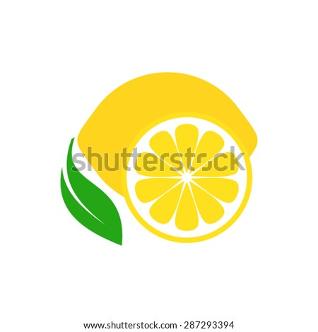 Colorful simple lemon fruit icon on white - stock vector