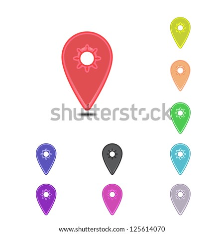 Colorful simple mapping pins on white background - stock vector