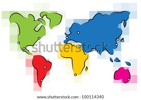 Colorful simplified World map made out of lines and squares - stock vector