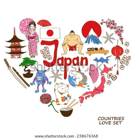 Colorful sketch collection of Japanese symbols. Heart shape concept. Travel background - stock vector