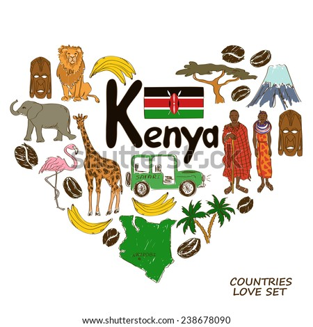 Colorful sketch collection of Kenyan symbols. Heart shape concept. Travel background - stock vector