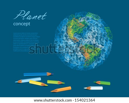 Colorful sketch of planet Earth, pencils vector illustration - stock vector