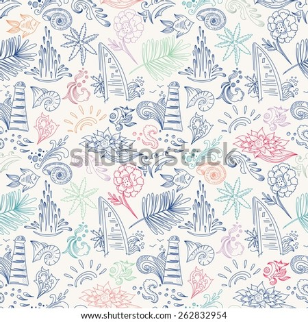 Colorful sketch travel pattern | Seamless vector backgroung doodle style, with sea icons and symbols for vacation business design, spa and beauty centers, Bali flowers - stock vector