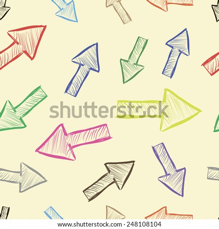 Colorful sketches of arrows on a light background seamless texture