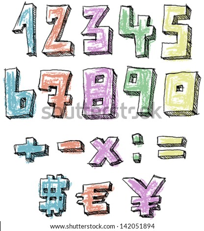 Colorful sketchy hand drawn numbers, math and currency signs