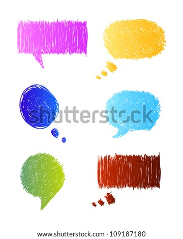 Colorful sketchy speech bubbles illustration - stock vector