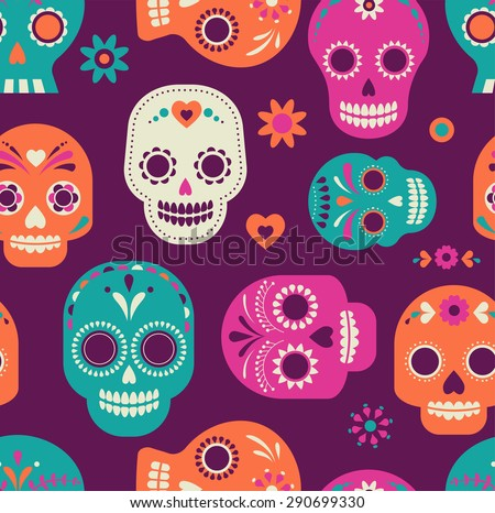 colorful skull cute pattern, Mexican day of the dead - stock vector