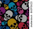 Colorful skulls on black background - seamless pattern - stock vector
