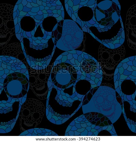 Colorful skulls on black background - seamless pattern. Vector skull collection.