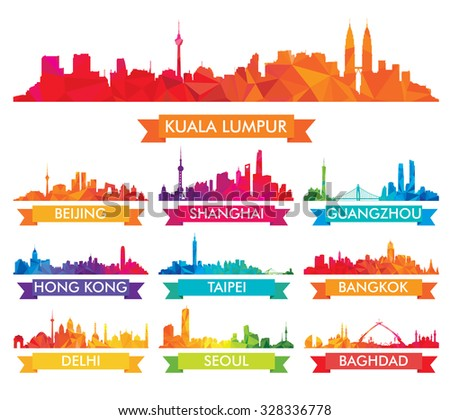 Colorful Skyline of Asian Cities - stock vector