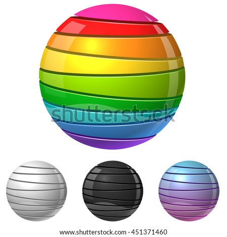 Colorful sliced sphere sign vector template with white, black and gradient variants. Glossy cut color balls isolated on white background. - stock vector