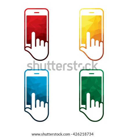 colorful smart phone in hand icons on white background. isolated mobile phone in hand icons. eps8. - stock vector