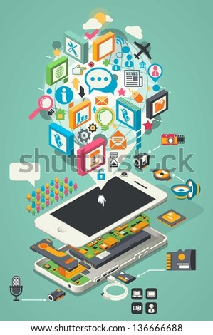 colorful smartphone background,vector info graphic with phone plan - stock vector