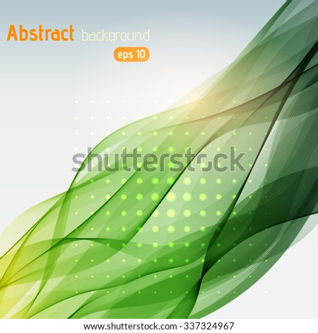Colorful smooth light lines background. Green colors.  Vector illustration