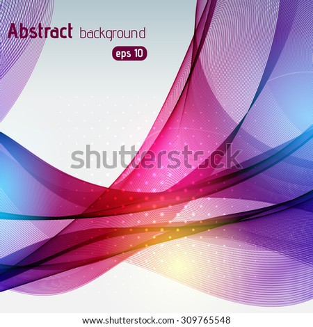 Colorful smooth light lines background. Pink, purple, blue, yellow colors. Vector illustration