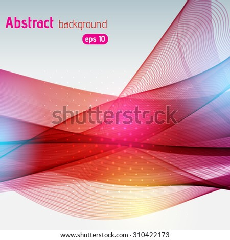 Colorful smooth light lines background. pink, red, blue, yellow colors. Vector illustration