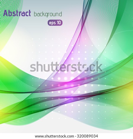 Colorful smooth light lines background. Yellow, green, pink colors. Vector illustration - stock vector
