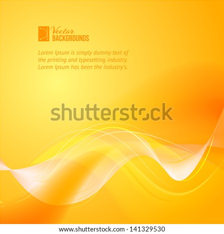 Colorful smooth light lines over orange background. Vector illustration, eps 10, contains transparencies. - stock vector
