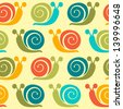Colorful snails seamless pattern - stock vector
