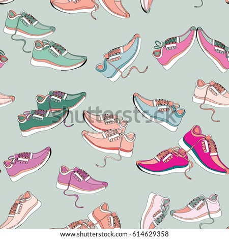 Colorful sneakers. Seamless pattern. Vector illustration on light green background