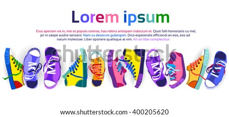 Colorful Sneakers Training Sport Shoes Set Collection Banner With Copy Space Flat Vector Illustration - stock vector