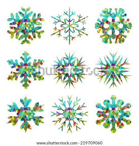 Colorful snowflake Vector. Beautiful snowflakes set for christmas winter design. - stock vector