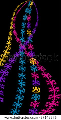 colorful snowflakes on black background - stock vector