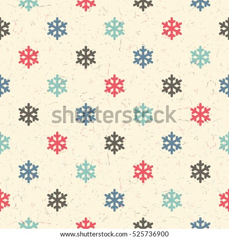 Colorful  snowflakes on desert yellow background with grunge shapes. New Year and Christmas seamless pattern. Packing paper for gifts and different use.
