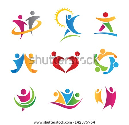 Colorful social logo of people in action icons - stock vector