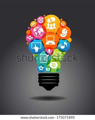 Colorful social media icons form the shape of the light bulb. Modern infographic template. File stored in version AI10 EPS. This image contains transparency. - stock vector