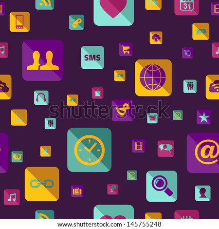 Colorful social media network app icon pattern. This illustration is layered for easy manipulation and custom coloring - stock vector