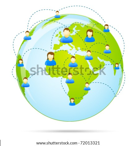 Colorful social media people communication on the globe - stock vector