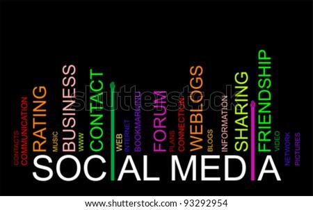 colorful SOCIAL MEDIA text bar-code, vector - stock vector