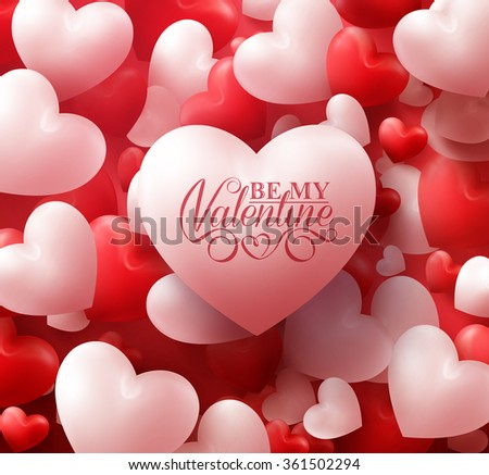 Colorful Soft and Smooth Valentine Hearts in Red Background with Happy Valentines Day Greetings. Realistic 3D Vector Illustration  - stock vector