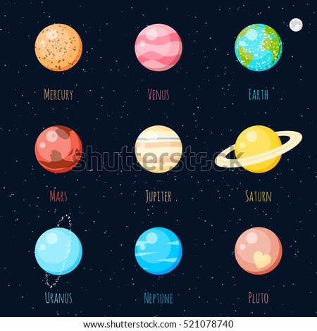 Colorful Solar System planets vector icon set