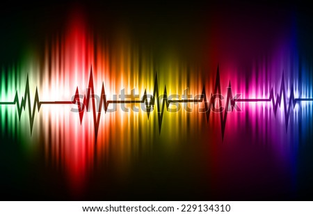 Colorful Sound wave background suitable as a backdrop for music, technology and sound projects. Blue Heart pulse monitor with signal. Heart beat. - stock vector