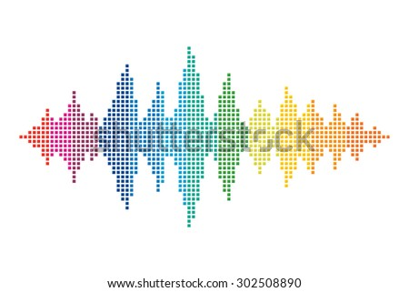 Colorful sound wave made of small squares. Rainbow color sound vector. - stock vector