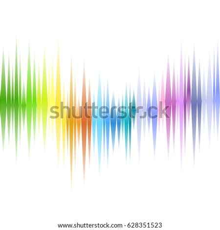 Colorful sound waves on white background.