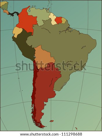 Colorful South America Map. Cartography collection. Vector illustration. - stock vector