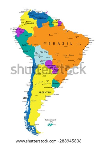 Colorful South America Political Map With Clearly Labeled Separated Layers Vector Ilration