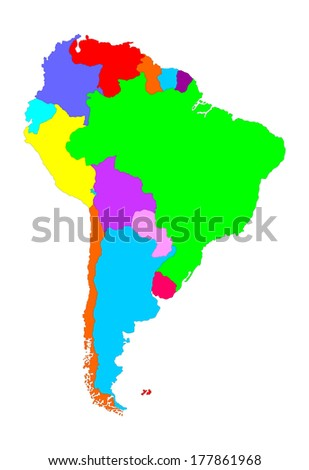 Colorful South America vector map with separated countries isolated on white background.
