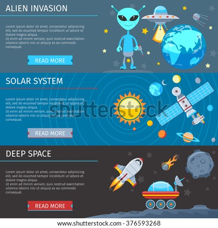 Colorful Space And Astronomy Flat Banners Set. The Alien Invasion. Solar system. Deep Space - stock vector