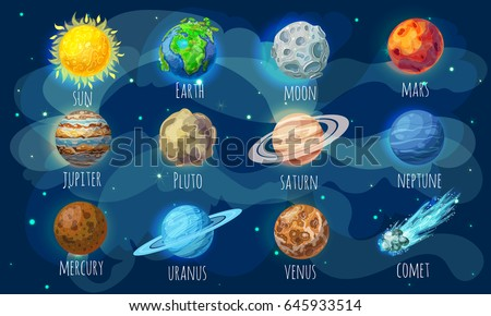 Colorful space elements set with sun comet and solar system planets in cartoon style isolated vector illustration