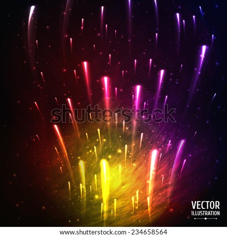 Colorful Space Galaxy Background with Light, Meteors, Shining Stars, Stardust and Nebula. Vector Illustration for artwork, party flyers, posters, banners. - stock vector